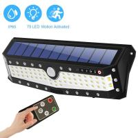 China 79LED USB Charging Motion Sensor PIR Solar Powered Led Wall Light With Remote Control on sale