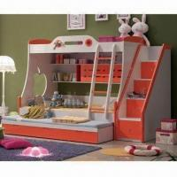 Bunk Bed with Sliding Bed and Stairs Cabinet, Comes in Orange and Glossy Painting Finish Manufactures