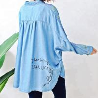 China Blue Long Sleeve Womens Denim Shirt Dress , Denim Long Tops For Ladies on sale