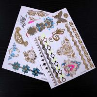 Beautiful Gold And Silver Temporary Hair Tattoos Stickers Flower Patterns Manufactures