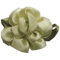 China Bloom With Bud For Baby Hair Accessories , Satin Ribbon Flowers With Leaf wholesale