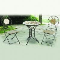 3-piece Patio Mosaic Table Set, Made of Iron, Cement, Ceramic and Black Powder Coating Manufactures