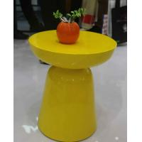 Yellow Arcylic Round Metal Coffee Table Small Indoor Customizable SGS Manufactures
