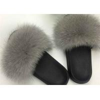 Ladies Genuine Luxurious Fox Fur Slippers Anti Slip Comfortable For Autumn Winter Manufactures