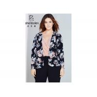 Trendy Floral Print Plus Size Ladies Clothing For Young Women Open Front Waterfall Jacket Manufactures
