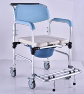 China Elderly Adjustable Bath Seat Chrome Steel Folding Backrest Toilet Commode Chair on sale