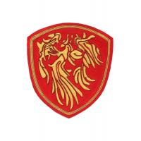 Gold And Red Machine Embroidered Badges Fabric Embroidered Sew On Patches Manufactures