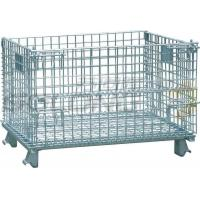Quality Foldable Galvanized Wire Container Storage Cages , Mobile Storage Cages With Side for sale