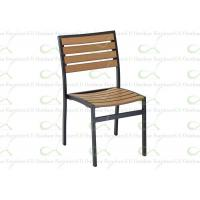 China Outdoor Dining Chairs Armless Chair Tan Color Polywood Chair Faux Teakwood on sale