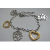 Costume Jewellery Stainless Steel Bracelets for Women with Heart and Flower Charms Manufactures