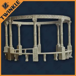 China Round Beige Stone Garden Gazebo / Environmental Carved Gazebo , Custom on sale