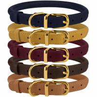 China Handmade Leather Rolled Rope Dog Collars For Small Medium Large Dogs Puppy Cat on sale