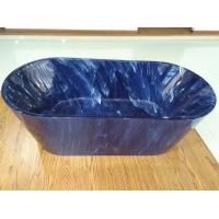 Quality 1700mm length ovel acrylic blue marble color freestanding bath tub with center drainer for sale