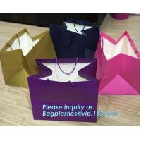 Laminated Customized Luxury Retail Shopping Packaging Logo Gold foil Paper Bags For Clothes / Clothing with Ribbon Bow Manufactures