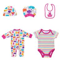 New Born Girls Cotton Infant Rompers Bibs Bodysuit Clothes Full Printed Baby Clothing Set Manufactures