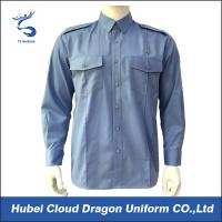 Blue TC Poplin Long Sleeve Military Tactical Shirts , Police Department Shirts Manufactures
