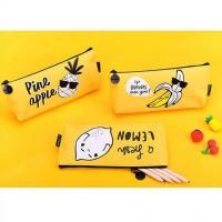 China Cartoon Kids Student Pencil Pouches Polyester , Zipper Pencil Case Bag Yellow on sale