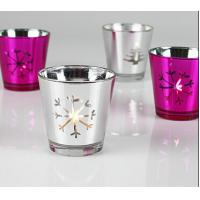 China Silver Electroplating Candle Glass Cups Decorative For Restaurants Churches on sale