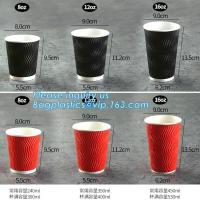 Quality Custom Disposable Striped Paper Cup Ripple Wall Paper Coffee Cups,Printed Disposable Coffee Paper Cup with Lid PACKAGE for sale