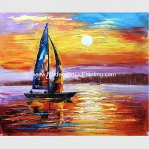 China Impressionism Sunrise Seascape Oil Paintings Palette Knife Sailboat Flexible on sale