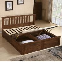 China Rustic Cherry Solid Wood Twin Bed Frame , Antique Style Black Wood Bed Frame on sale