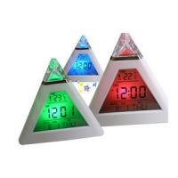 Pyramid shape clock, led clock with temperature function, promotional digital table clock Manufactures