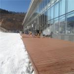 Outdoor solid WPC wood flooring deckings in ski resort (RMD-57) Manufactures