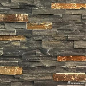 China Black Slate With P014 Rust Rock Face Ledge Stone , China Wall Cladding on sale