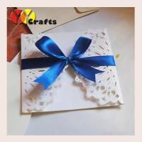 Luxurious white wedding banquet invitation card 15 by 15cm with blue ribbon Manufactures