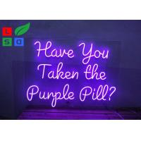 Custom Hanging Colorful Acrylic Purple Logo Led Neon Signs For Nightclub Decoration Manufactures