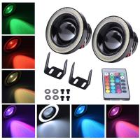 Colorful DRL 89MM 30W Car LED Fog Lights With RGB COB Halo Angel Eye Rings Manufactures
