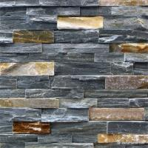 P013 Grey Slate with P014 Rust Rock Face Ledge Stone, China Wall Stone Cladding