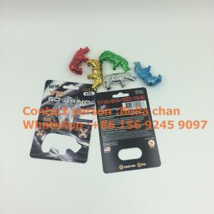 China Shinny Silver / Gold sex pill Rhino toys for Go Rhino packaging, Metal Rhino shape bottles on sale