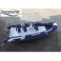 China 580cm Fiberglass Rigid Hulled Inflatable Boat With Two Bench Seats And Hard T-Top on sale