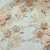 3D Flower Embroidered Lace Fabric , Sequin Lace Mesh Fabrics For Fashion Dresses Manufactures