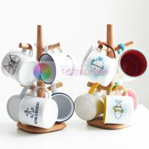 Lovely Imitation Enamel Ceramic Coffee Mug Set Household For Breakfast Milk Manufactures