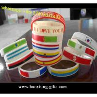 Custom embossed/imprinted/printed logo Silicone Wristband/bracelet with flag Manufactures