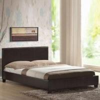 China King Bed with Slats and Center Rail, Made of Wood + PU Leather + Sponge on sale