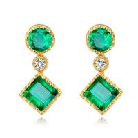 Buy cheap Gold Real Gemstone Jewelry , Green Fashion Emerald Drop Earrings With Diamond from wholesalers