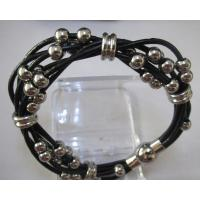 Fashion Leather Bracelets with Stainless Steel Beads Manufactures