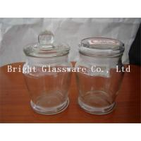 China Shaped glass candle jar with lid on sale