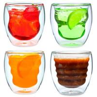 Set of 4 Curva Artisan Series Unique Double Wall Thermo Insulated Beverage Drinking Glasses cup and Tumblers 8 oz Manufactures