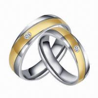 Brilliant Stainless Steel Gold Stripe Wedding/Couple Rings, Customized Designs Available Manufactures