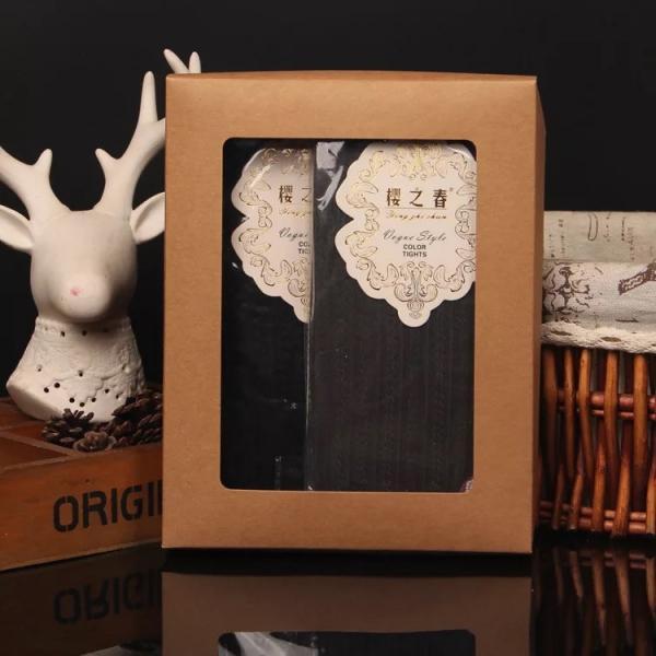 Quality Qingdao Yilucai High Quality Custom Cotton Socks Packing Box Kraft Paper Box With Clear Window for sale