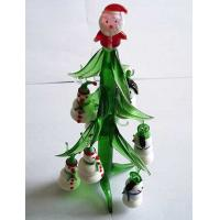 China Colored Glass Christmas Tree With Santa Claus , Handmade Ornaments Gifts on sale