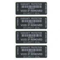 China Warranty VOID Black With White Printing Destructible Tamper Evident Barcode Labels on sale