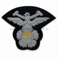 Handmade Bullion Embroidered Emblem for Apparel, Garments, Homespun Fabric and Room Ornaments Manufactures