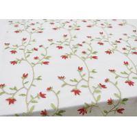 Multi Colored Floral Embroidered Lace Fabrics , Embroidery Mesh Fabric For Party Manufactures