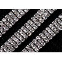 China 3mm 3 rows dense claw rhinestone cup chain for dress phone DIY on sale