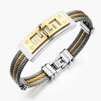 Stainless Steel Three Layers Cable Bangle With Great Wall Pattern Manufactures
